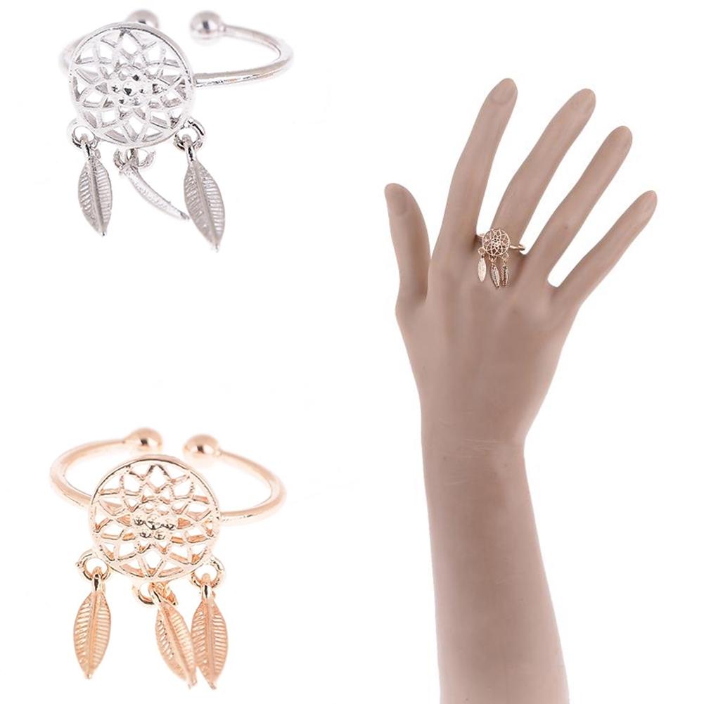 1 Pcs Dreamcatcher Ring Feather Charm Pendant Dream Catcher Wish Ring Adjustable JR14518 0