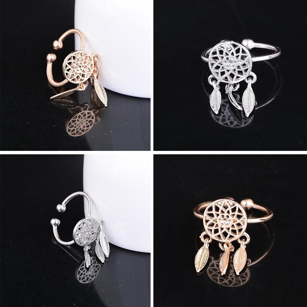 1 Pcs Dreamcatcher Ring Feather Charm Pendant Dream Catcher Wish Ring Adjustable JR14518 5