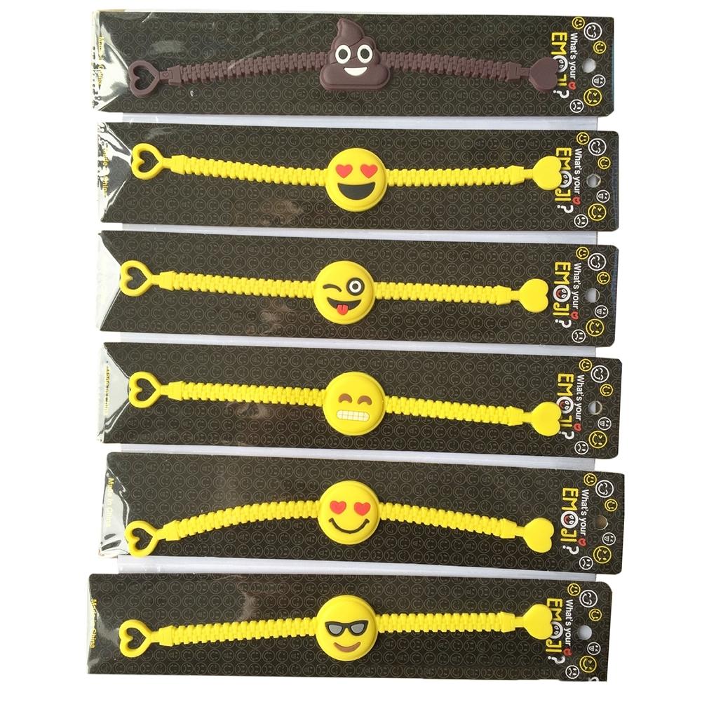 1PC Cartoon EMOJI Expression PVC Smile Face Bracelet JBA0309 1