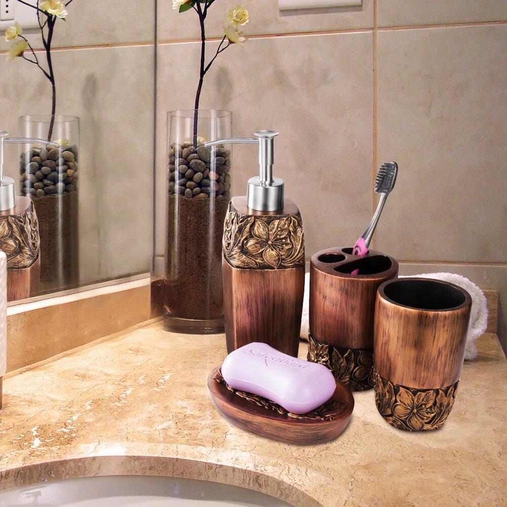 4 Pack Bathroom Accessories Set (Brown) Discount