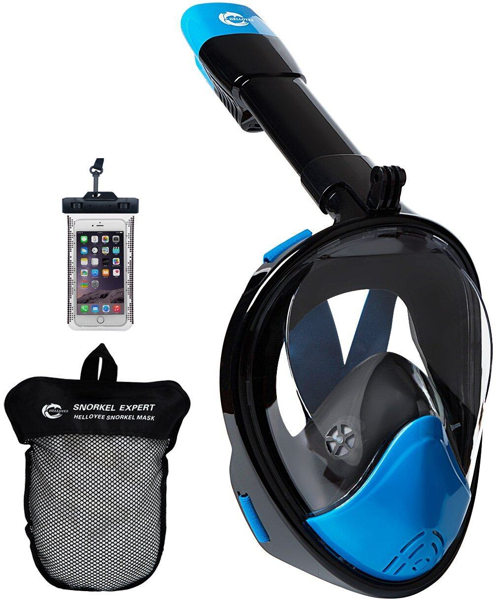 HELLOYEE Full Face Snorkel Mask 180° Panoramic View Breathe Free For Adults And Kids 0