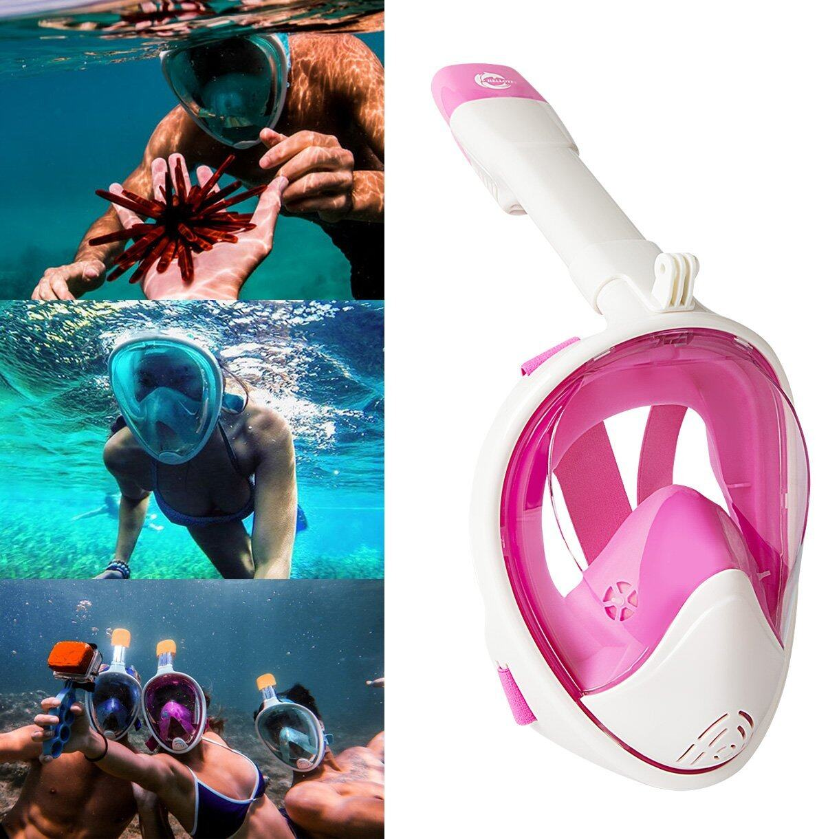 HELLOYEE Full Face Snorkel Mask 180° Panoramic View Breathe Free For Adults And Kids 2
