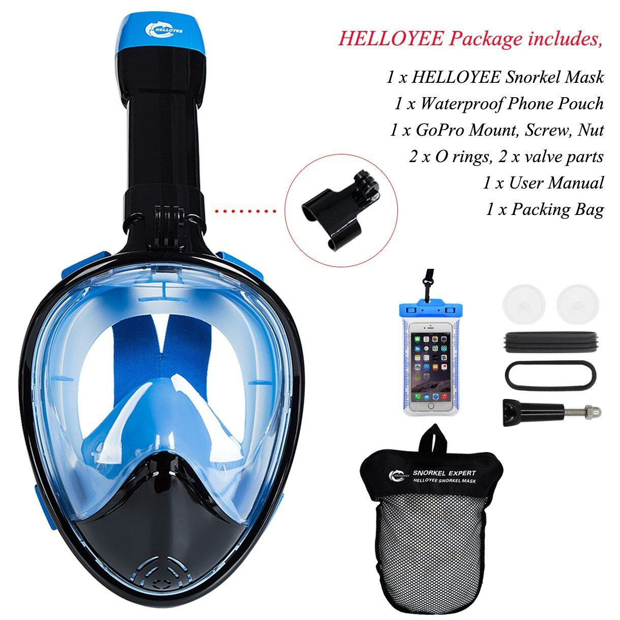 HELLOYEE Full Face Snorkel Mask 180° Panoramic View Breathe Free For Adults And Kids 1