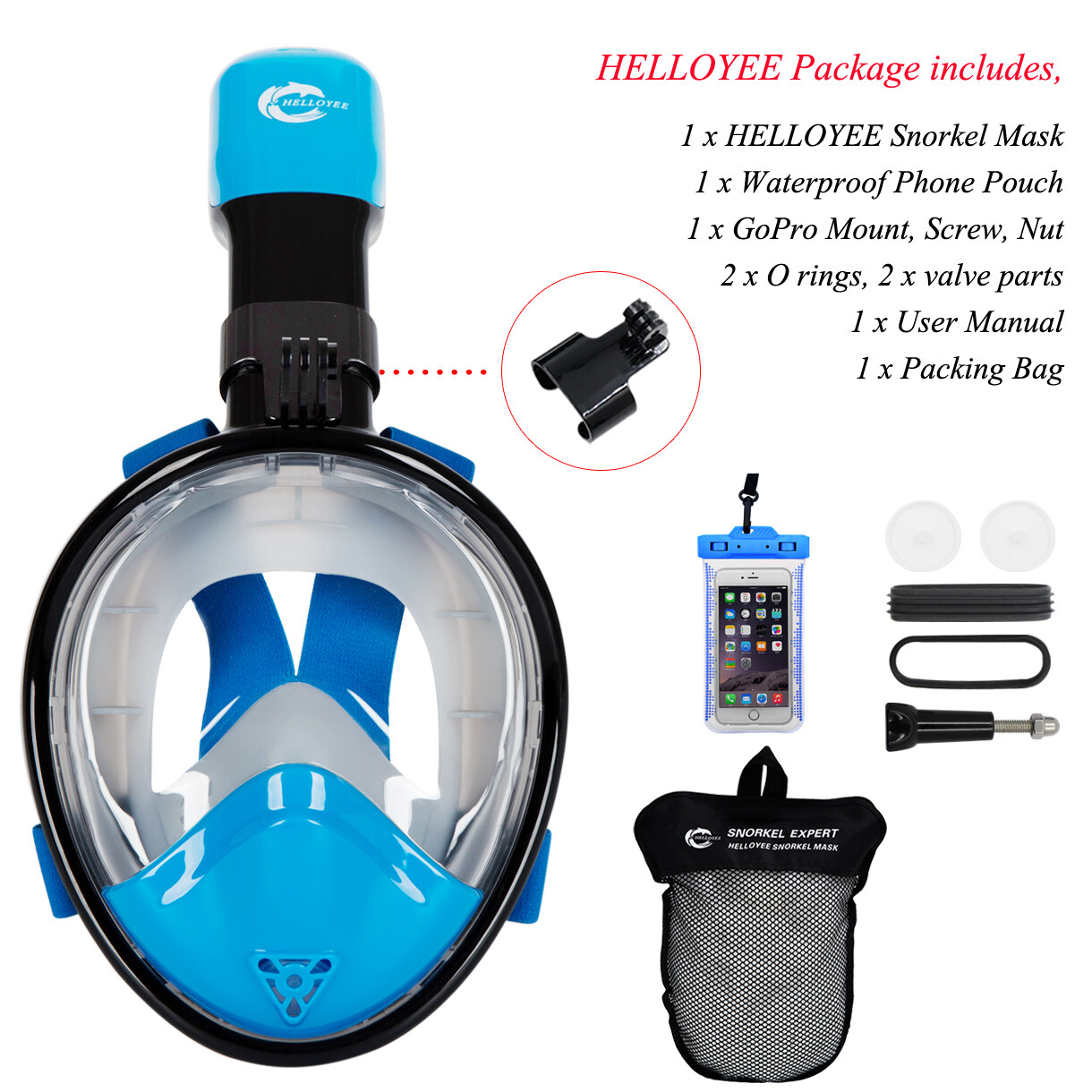 HELLOYEE Full Face Snorkel Mask 180° Panoramic View Breathe Free Snorkeling Mask For Kids 1