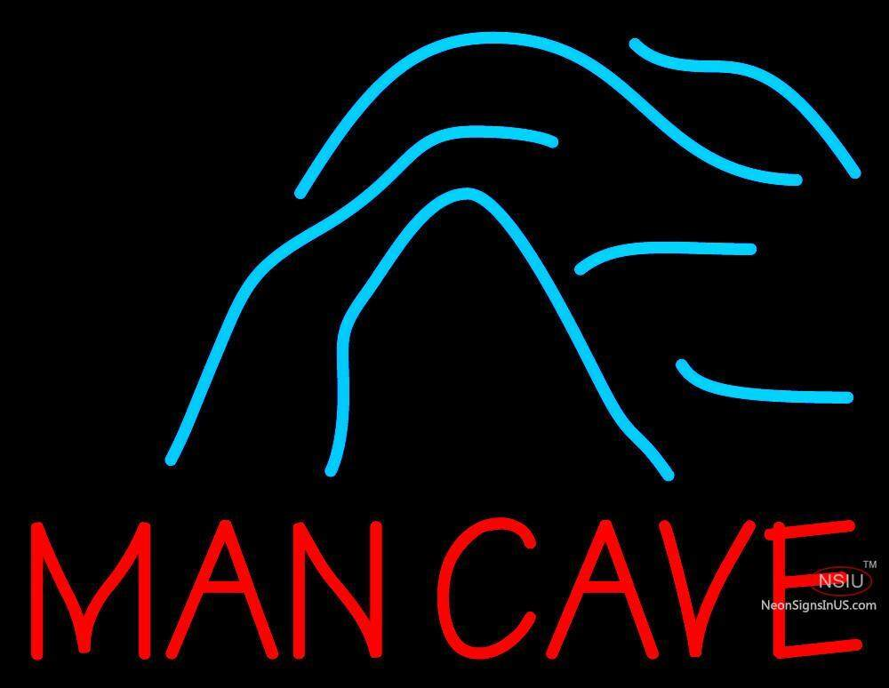 Man Cave Lighted Beer Signs : Blue waves red man cave neon beer sign