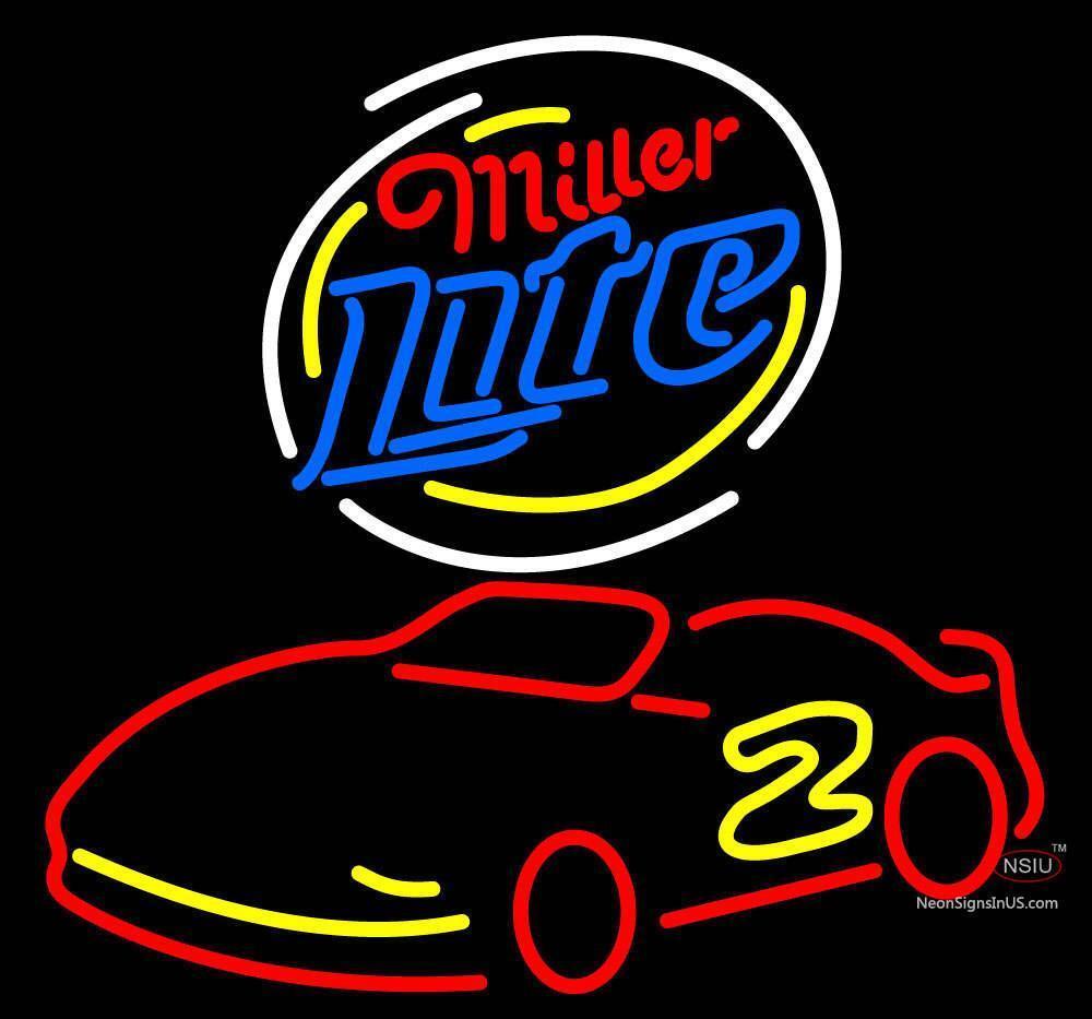 miller lite logo nascar rusty wallace beer neon sign