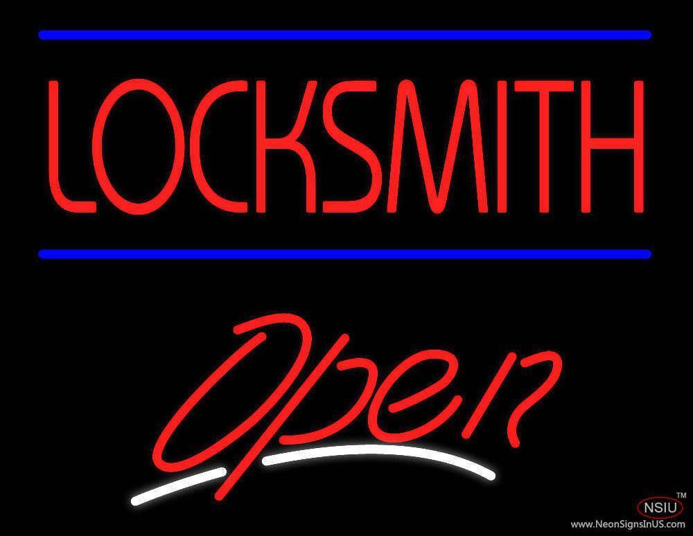 locksmith script open real neon glass tube neon sign. Black Bedroom Furniture Sets. Home Design Ideas