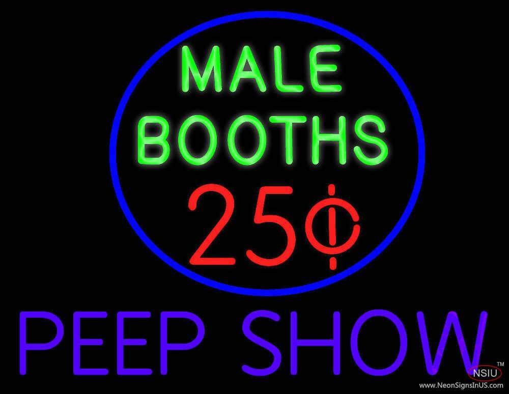 Male Booths Peep Show Real Neon Glass Tube Neon Sign