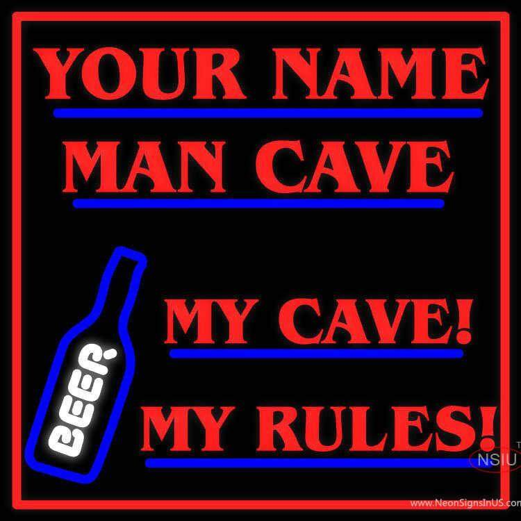 Man Cave Neon Signs Australia : Custom my cave rules beer man neon sign