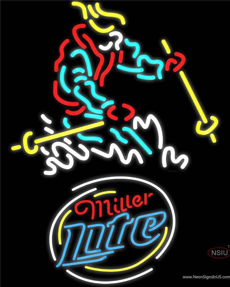 Miller Lite Skier Logo Neon Sign
