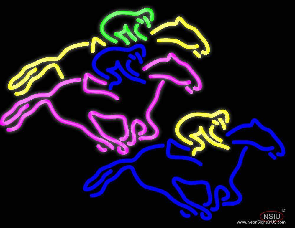 racing horses real neon glass tube neon sign. Black Bedroom Furniture Sets. Home Design Ideas
