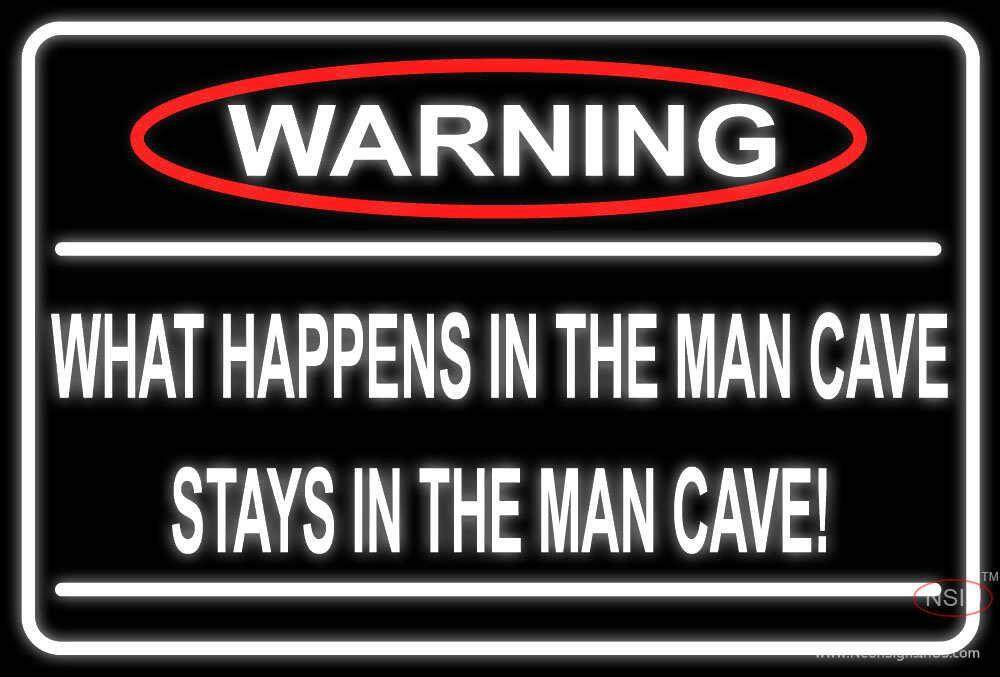 Military Man Cave Signs : Warning stays in man cave neon sign