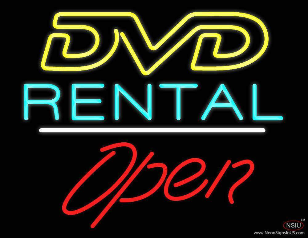 dvd rental open white line real neon glass tube neon sign. Black Bedroom Furniture Sets. Home Design Ideas