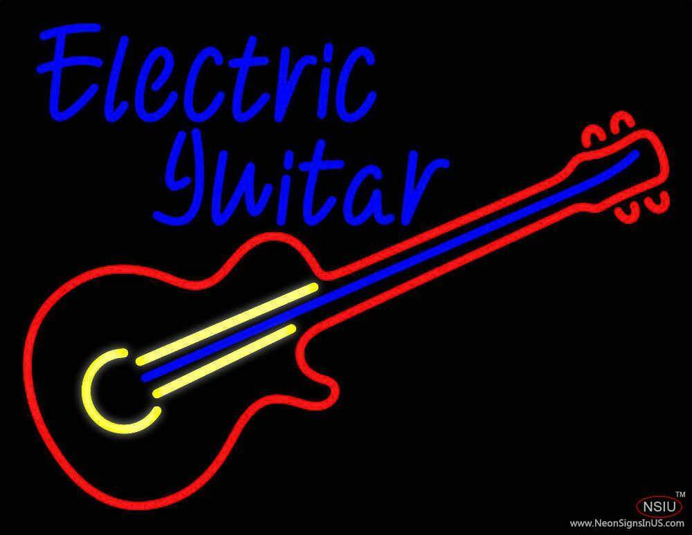 electric guitar real neon glass tube neon sign. Black Bedroom Furniture Sets. Home Design Ideas