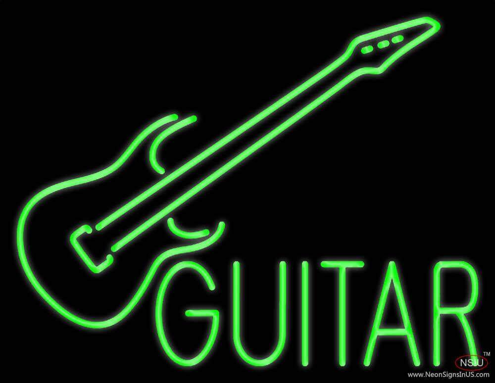 green guitar real neon glass tube neon sign. Black Bedroom Furniture Sets. Home Design Ideas