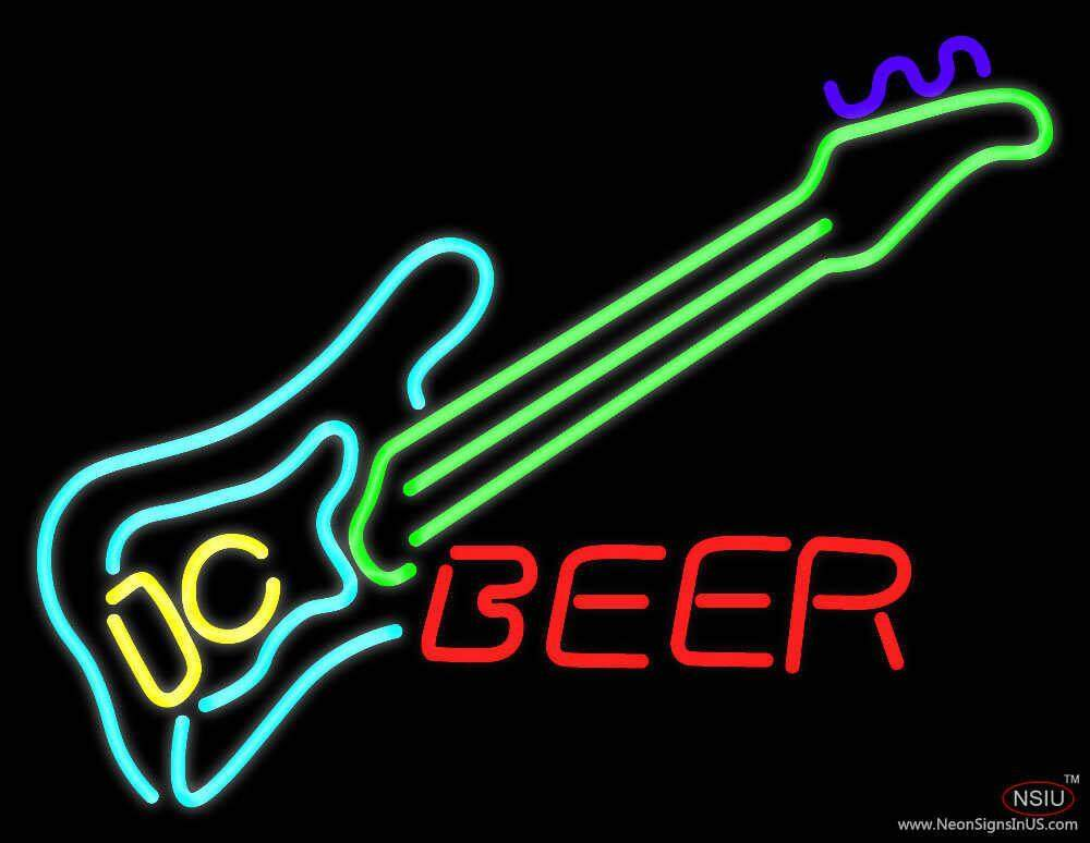 guitar beer real neon glass tube neon sign. Black Bedroom Furniture Sets. Home Design Ideas
