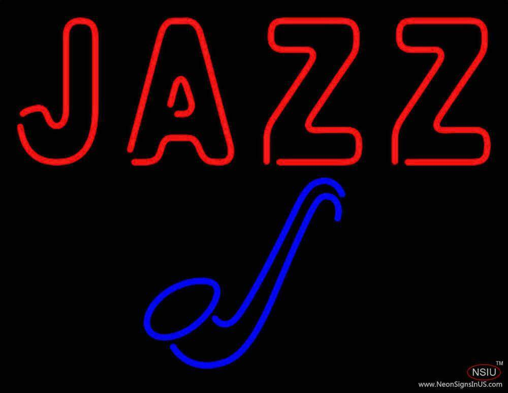 Blue Saxophone Red Jazz Block Real Neon Glass Tube Neon Sign