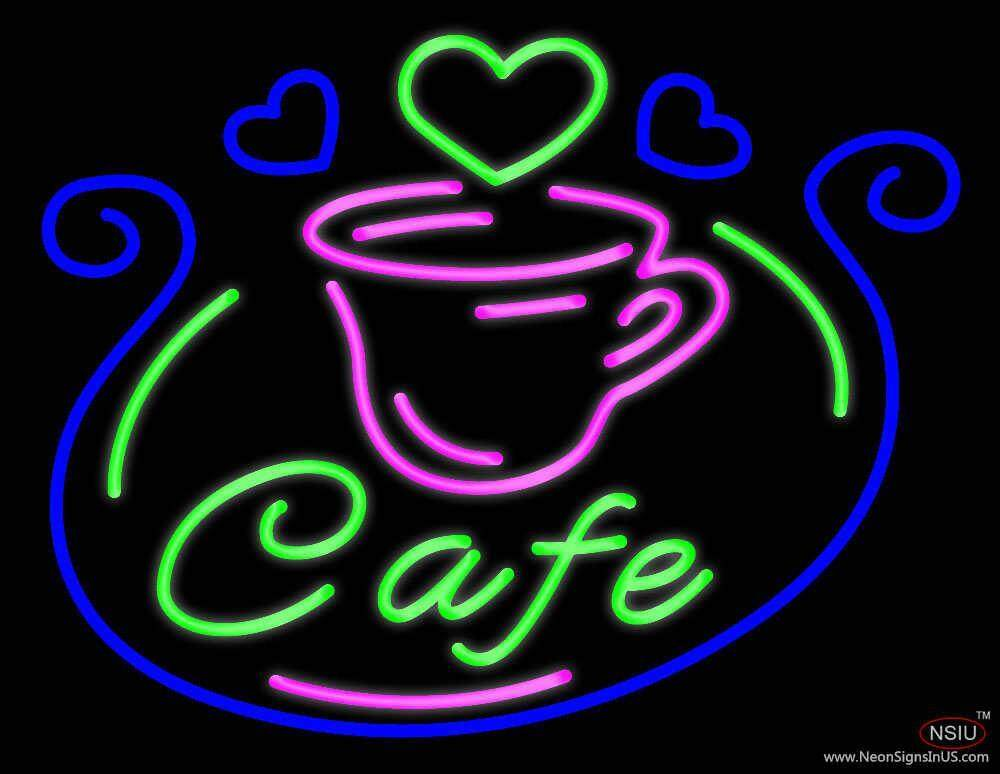 cafe with cup real neon glass tube neon sign. Black Bedroom Furniture Sets. Home Design Ideas