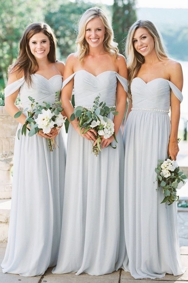 Off The Shoulder Light Sky Blue Bridesmaid Dresses For