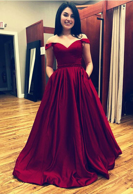 6086ec52472 Off Shoulder Burgundy Long Prom Dress Waist with Beaded 1529119206957 0.jpg