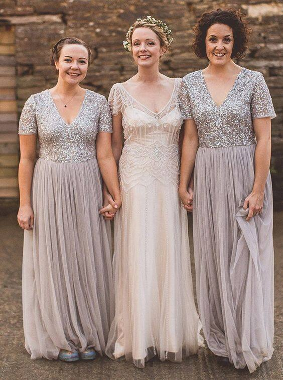 b7811cfb67 Sweep Train Tulle Gray Silver Sequins Bridesmaid Dresses for Wedding Party 1531280314608 0.jpg