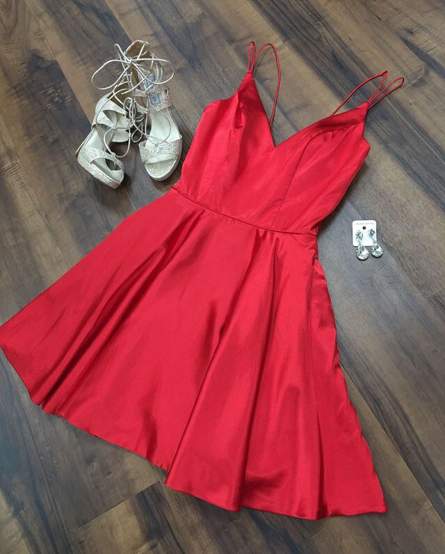 b0639cea3f1 Spaghetti Straps V Neck Red Homecoming Dresses Under 100 Prom Dress