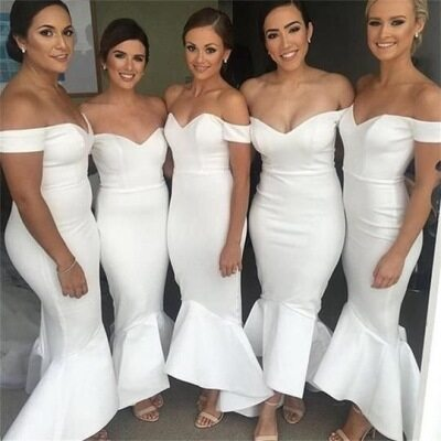 301741a3957 ... White Off the Shoulder Mermaid Bridesmaid Dresses for Wedding Party