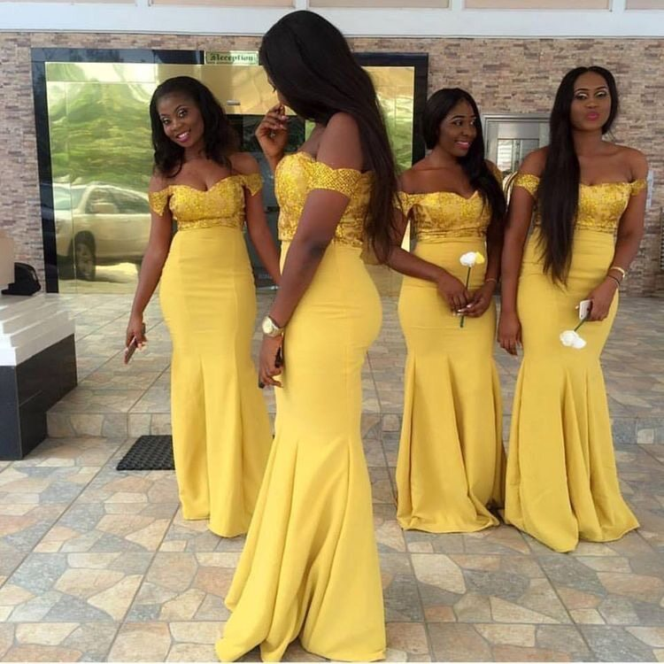 09279f4e0a4 Off the Shoulder Dark Yellow Mermaid Bridesmaid Dresses with Appliques for Wedding Party 1538301668715 1.JPG