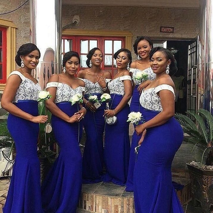 Off The Shoulder Royal Blue Mermaid Bridesmaid Dresses With Lace,Corset For Wedding Dresses