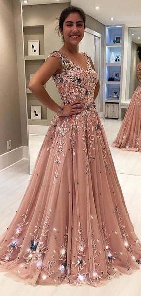 Elegant V Neck Long Prom Dresses With 3d Flowers