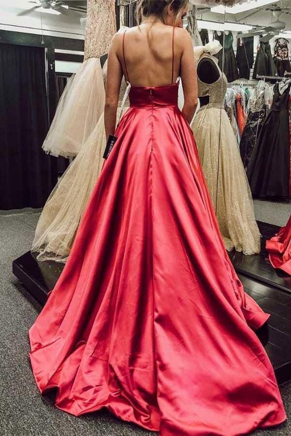 Spaghetti Straps Red Long Prom Dresses Evening Gowns 1