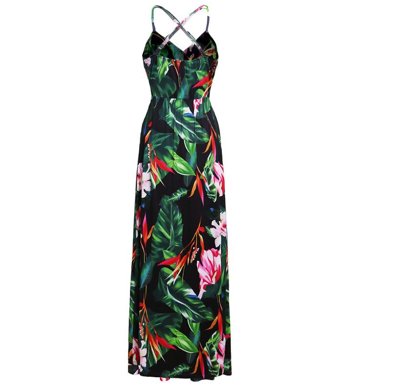 Spaghetti Straps Criss Cross Summer Floral Dresses Graden Dresses for Women 2