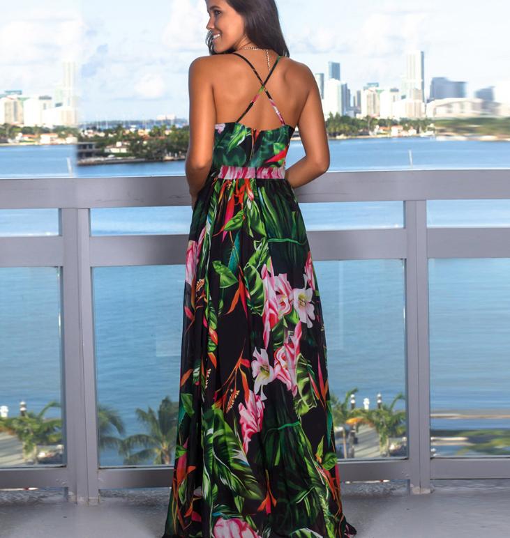 Spaghetti Straps Criss Cross Summer Floral Dresses Graden Dresses for Women 1
