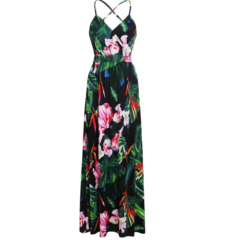 Spaghetti Straps Criss Cross Summer Floral Dresses Graden Dresses for Women 3