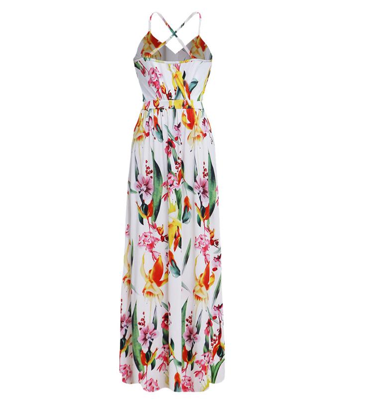Spaghetti Straps Criss Cross Summer Floral Dresses Graden Dresses for Women 5