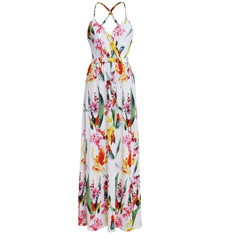 Spaghetti Straps Criss Cross Summer Floral Dresses Graden Dresses for Women 6