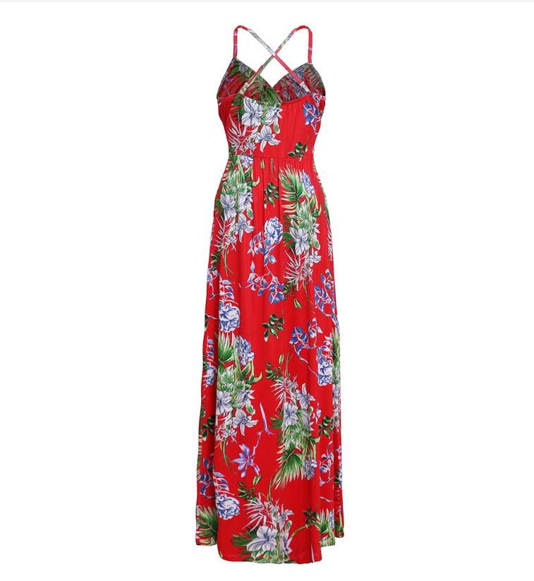 Spaghetti Straps Criss Cross Summer Floral Dresses Graden Dresses for Women 8