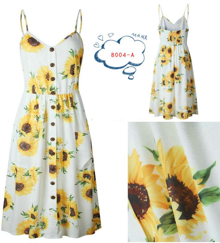 Spaghetti Straps Garden Casual Dresses Tea Length Summer Dresses 5