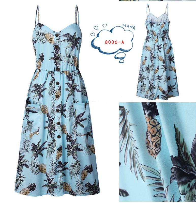 Spaghetti Straps Garden Casual Dresses Tea Length Summer Dresses 6