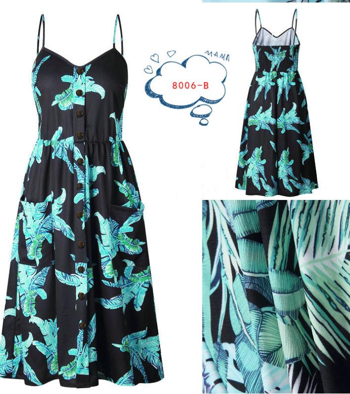 Spaghetti Straps Garden Casual Dresses Tea Length Summer Dresses 7