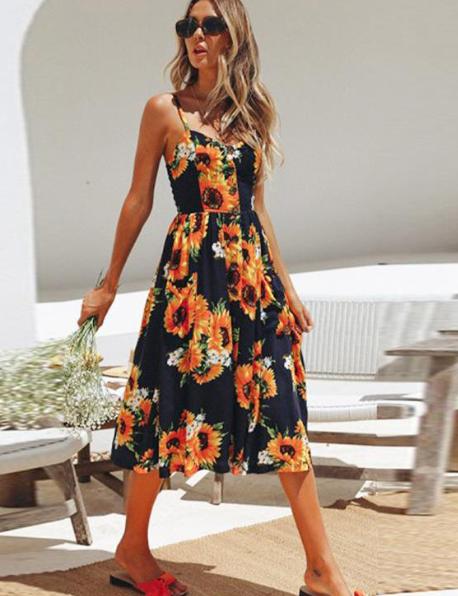 Spaghetti Straps Garden Casual Dresses Tea Length Summer Dresses 0