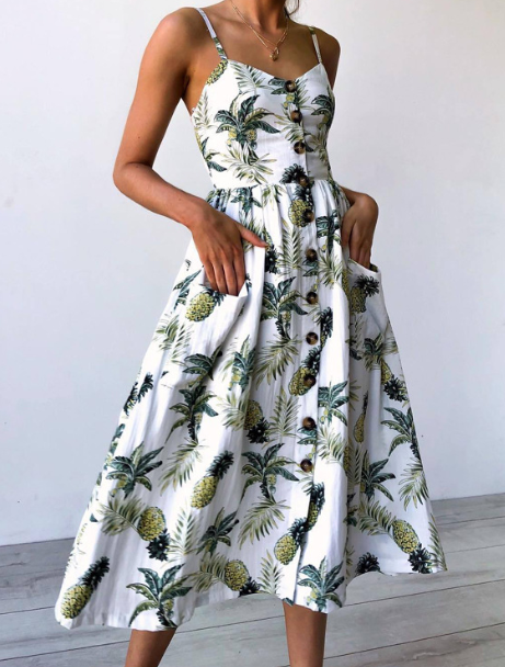 Spaghetti Straps Garden Casual Dresses Tea Length Summer Dresses 8