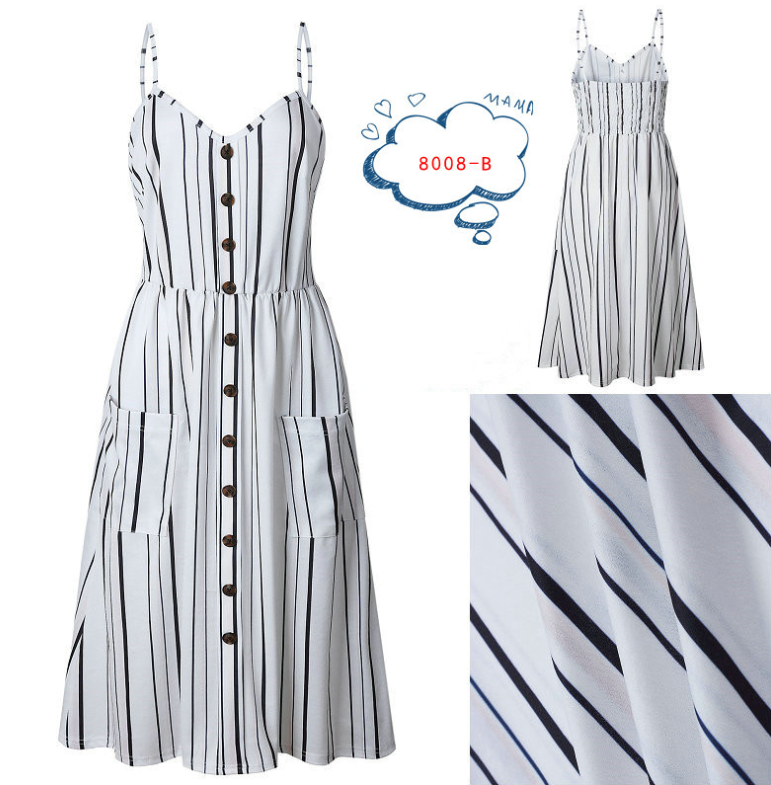 Spaghetti Straps Strips Casual Dresses Tea Length Summer Dresses 0