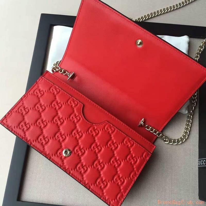 81ea4aede Gucci GG bag Signature mini women's handbags womens gucci purse signature  431408 red