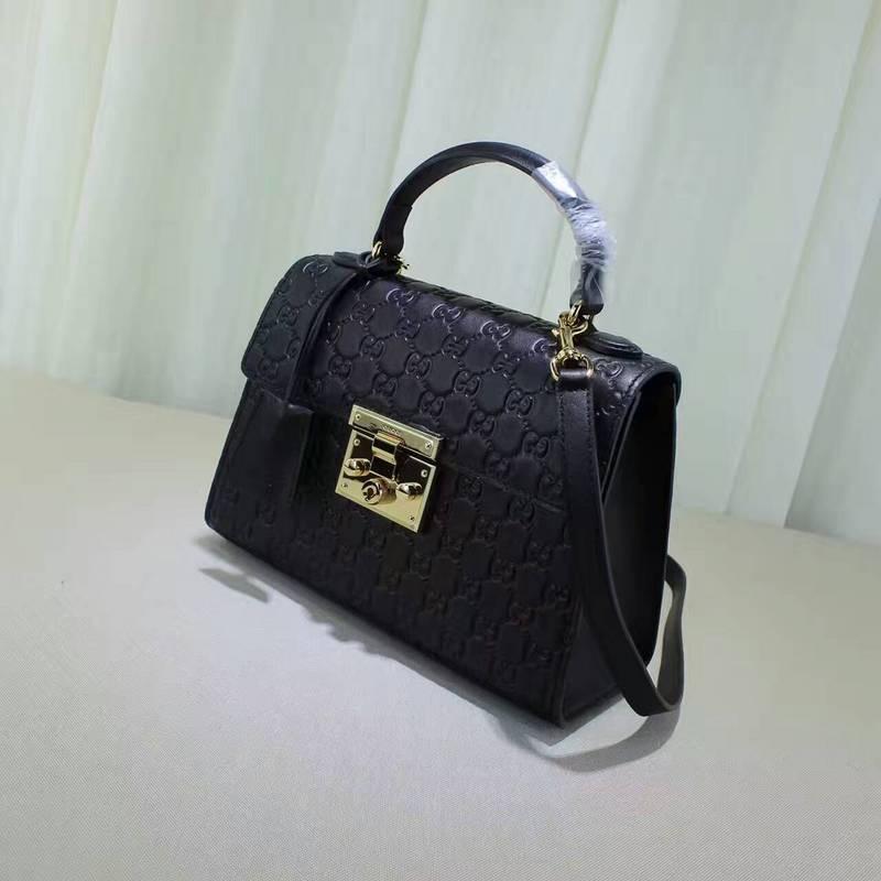 a60186329179a Gucci handbag Padlock small GG Supreme top handle bag black Gucci Signature  453188