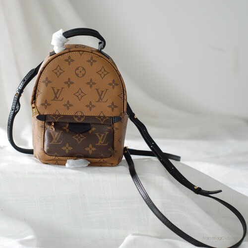 5a5febb6fa37 LV Mini Backpack Louis Vuitton Monogram handbags Reverse Canvas Palm  Springs Women small bag M42411