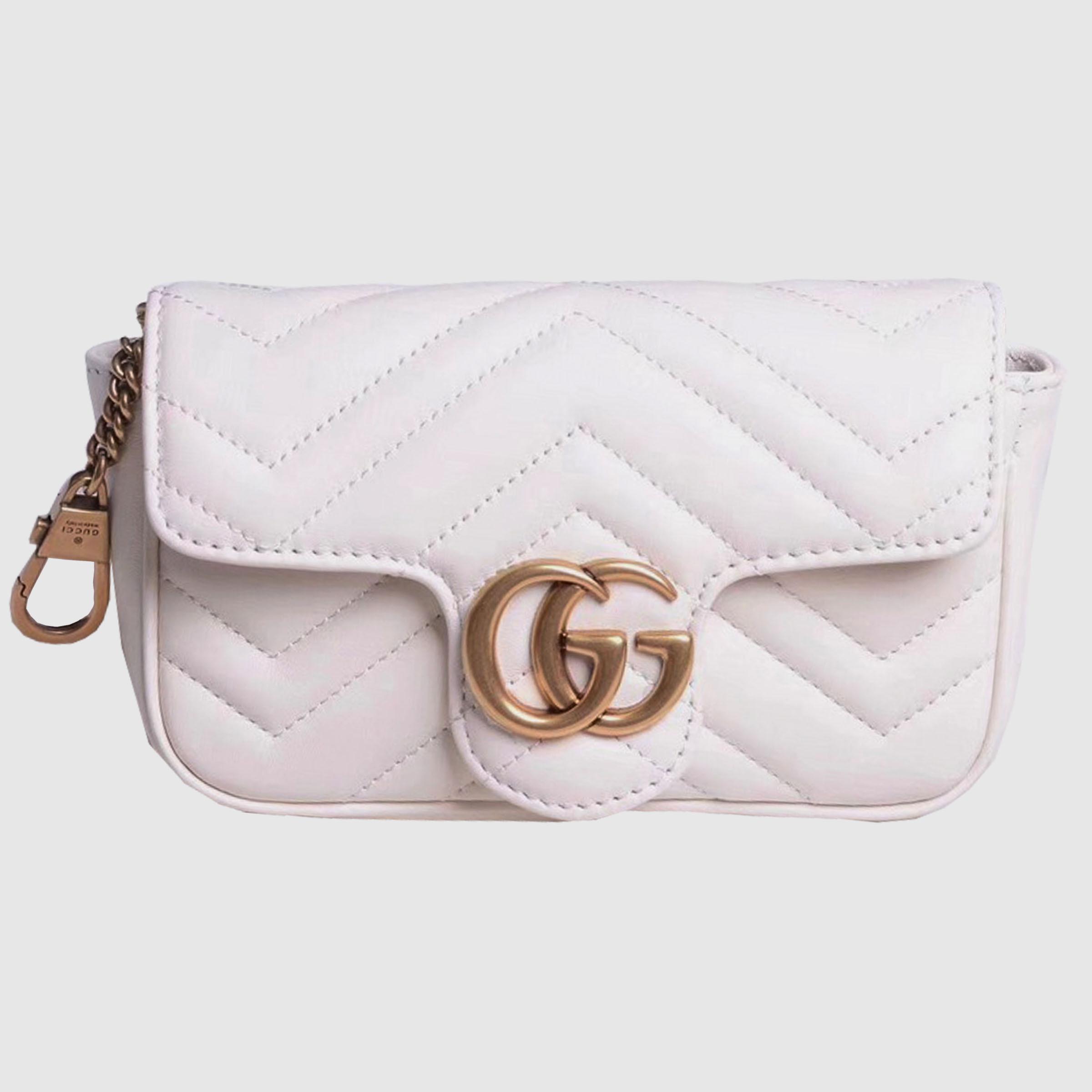 700c8e27d6c Gucci GG Marmont matelasse leather super mini bag dusty white chevron  leather 476433  Gucci ...