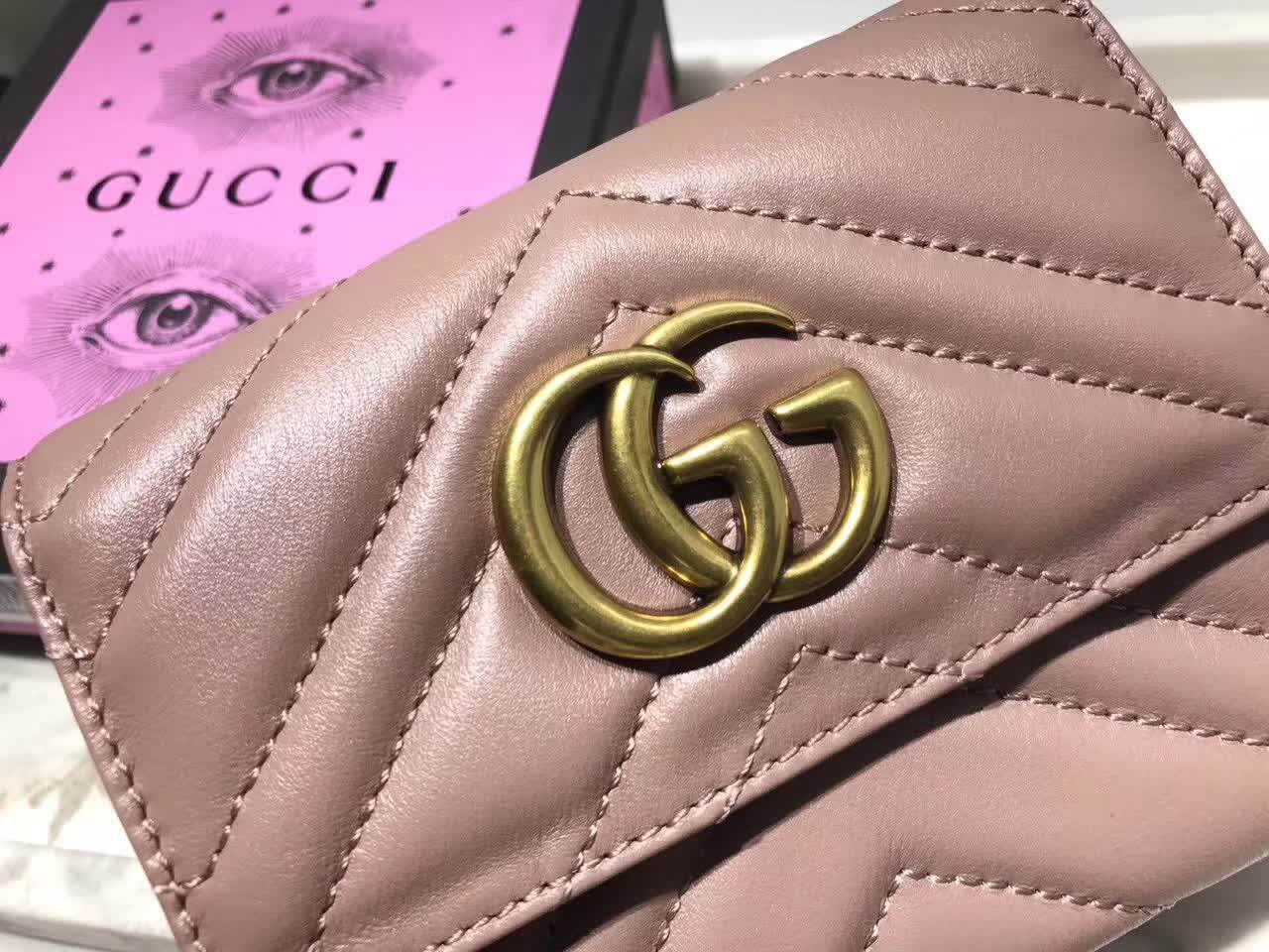 3 Colors Gg Gucci Marmont Wallet Trifold Leather Card