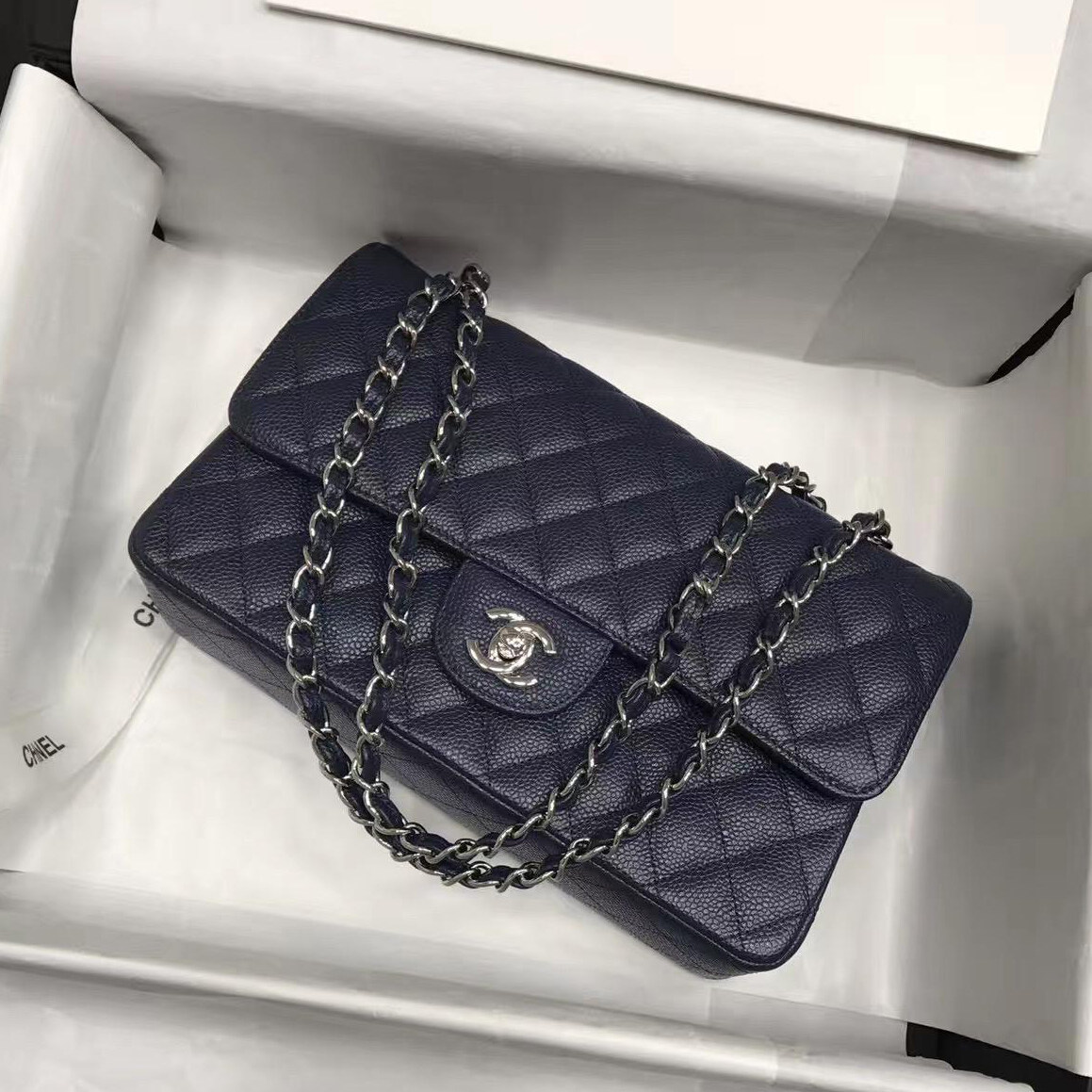6cabe8dc61e2fe Chanel bags online women's handbags medium Leather Chanel 2.55 Classic Flap  Quilted Caviar Shoulder chanel replica ...