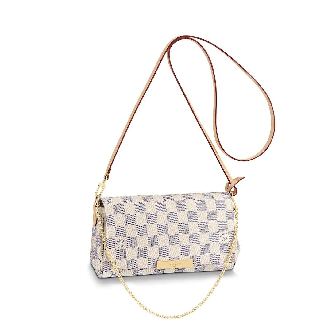 d9cb2960b3b1 LV favorite PM MM louis vuitton damier azur white louis vuitton white purse  new lv bags chain wallet small purse
